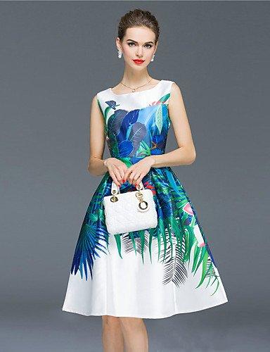 PU&PU Robe Aux femmes Gaine / Patineuse Vintage / Bohème,Imprimé Col Arrondi Mi-long Polyester , royal blue-xl , royal blue-xl