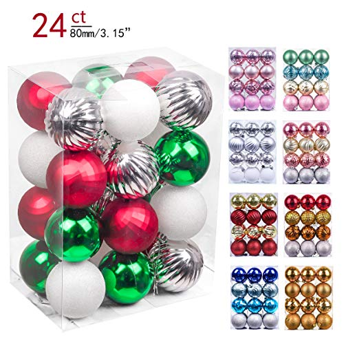 Valery Madelyn 24ct 80mm Classic Collection Splendor Red Green White Shatterproof Christmas Ball Ornaments Decoration,Themed with Tree Skirt(Not Included)