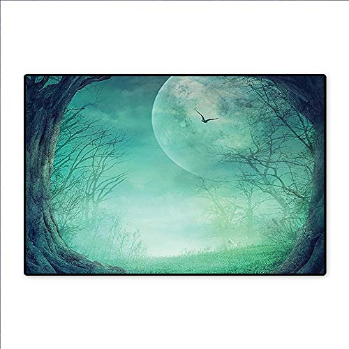 Lawn & Garden Mystical Magic Landscape Hills Trees Mushroom Houses Crescent Moon Night Sky Jade Green Pink for Living Room, Bedroom, and Dining Room 36