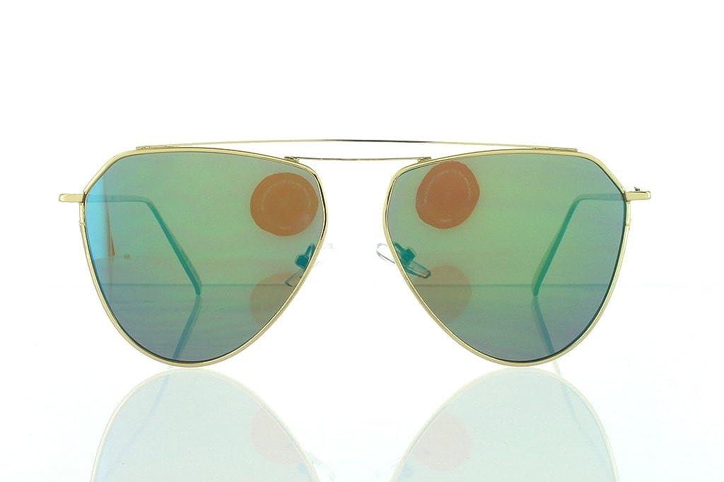 Flat Gold Tear Aviator Sunglasses with Green Lens 100/% UV400
