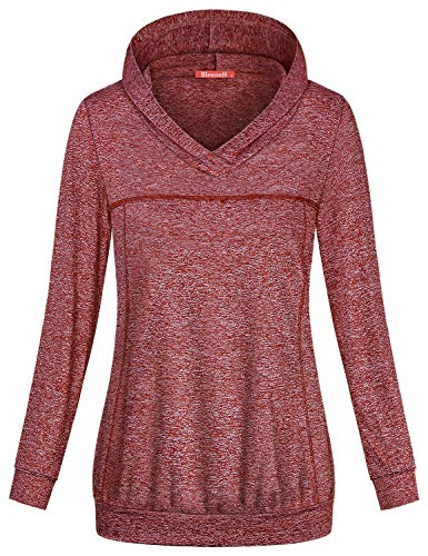 Blevonh Exercise Hoodie for Women, Girls Long Sleeve Workout Clothes Banded Hem Soft Material Moisture Wicking Lightweight Wear with Leggings Going Out Casual Running Pullover Wine L