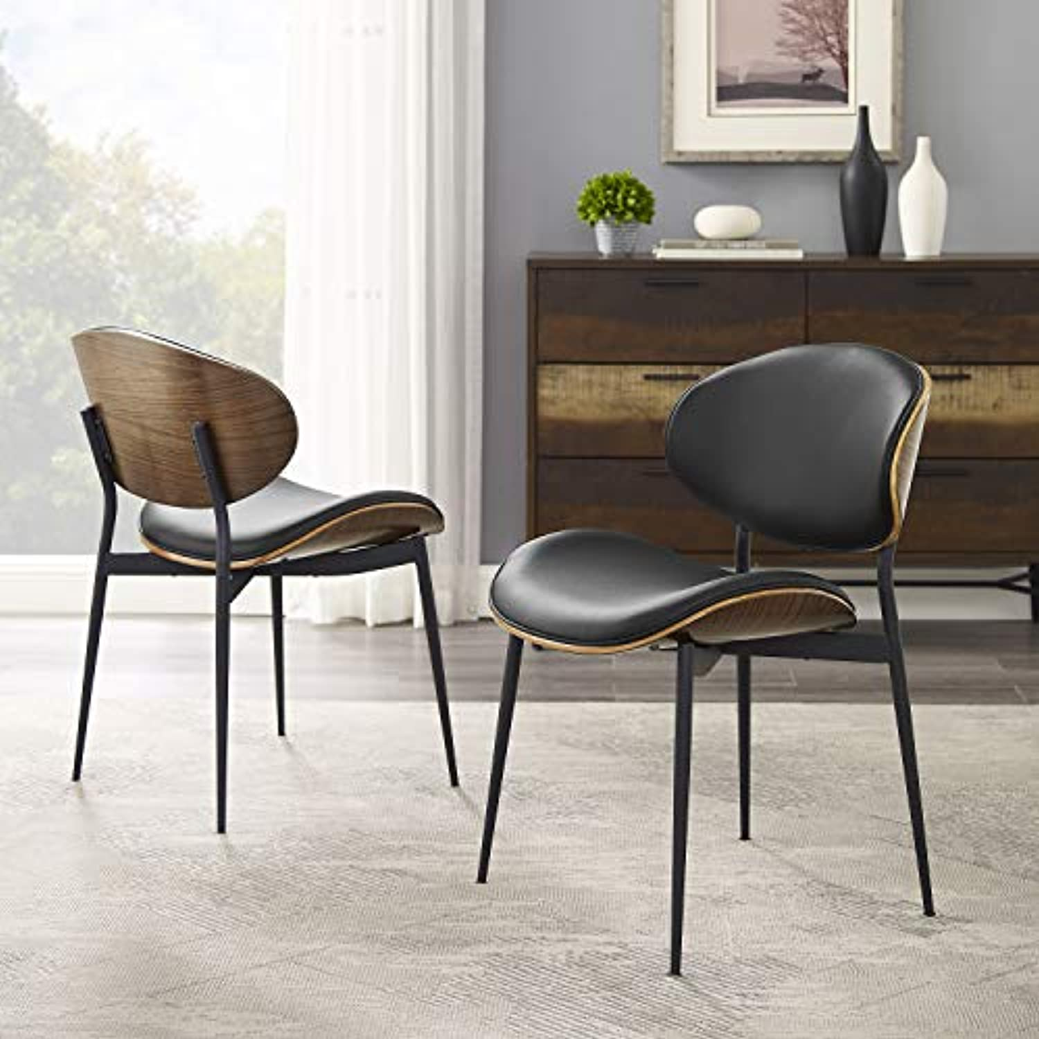 Art Leon Mid Century Modern Retro Black Faux Leather Kitchen Dining Chair, Armless Accent Desk Chair No Wheels, Set of 2