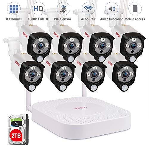 ([Audio Recording] Tonton 1080P Full HD Security Camera System Wireless,8CH NVR Recorder with 2TB HDD and 8PCS 2.0 MP Outdoor Indoor Bullet Cameras with PIR Sensor, Plug and Play,Easy Installation)