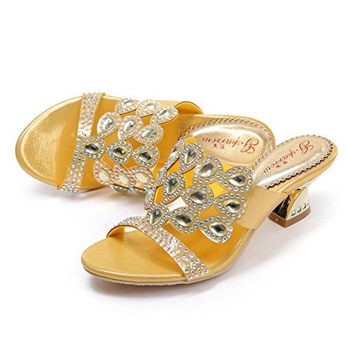 Diamant Taille Sandales Strass Sandales Femmes Nouveau Strass xie Été Romaine Creuse Hauts Grande Femmes Rugueux Talons EZwxqPB