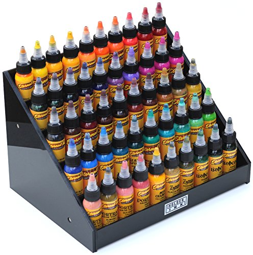Holder Ink Black Acrylic 5-Tier Display Stand Riser for Tattoo Inks/Nail Polish Bottles and other Beauty Essentials that keeps them Organized, Secured and Ready to use. (Black)