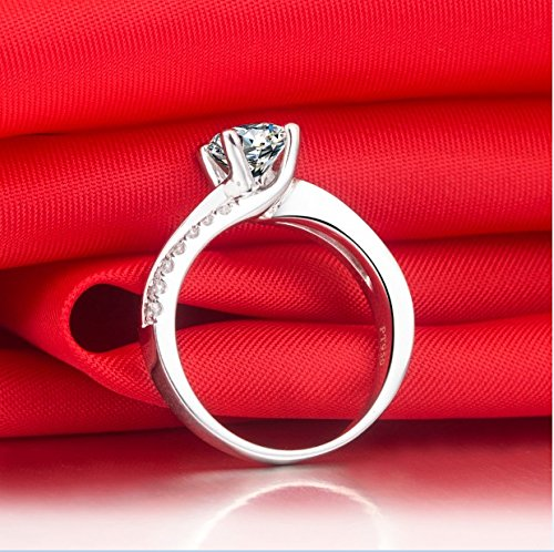 Superb 1CT NSCD Simulated Diamond Ring 4 Prongs Setting Engagement Ring for Women Sterling Silver by THREE MAN (Image #6)