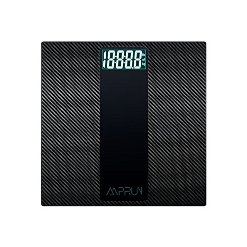 Digital Body Weight Scale Amprun Antiskid Bathroom Scales with Step-On Operation, Carbon Fiber Surface, Tempered Glass, High Accuracy, Easy- to-Read Backlit LCD Display