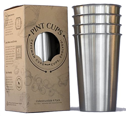 Heavy Duty Stainless Steel Tumblers Sanitary Rimless 16oz 4Pack by Caveman Cups