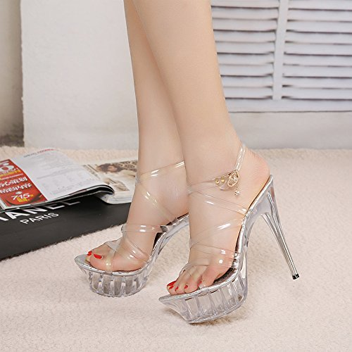 High Transparent SFSYDDY Waterproof Thin Heels 35 Crystal 14Cm Heels Heels Show Sandals Tables transparency Shoes Toes Super Shoes Walking HqH7v