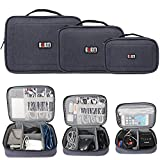 BUBM 3Pcs Electronic Travel Organizer, Portable Gadget Carrying Bag Gear Storage Bag for Cables, USB Flash Drive, Battery, Adapter and More, Roomy and Compact,Dark Blue