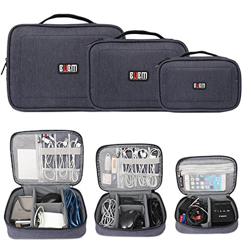 BUBM 3Pcs Electronic Travel Organizer, Portable Gadget Carrying Bag Gear Storage Bag for Cables, USB Flash Drive, Battery, Adapter and More, Roomy and Compact,Dark Blue by BUBM