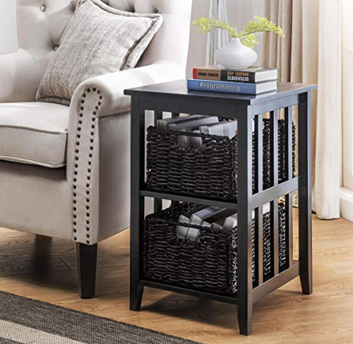 2L Lifestyle Greenville Woven Basket Side Table, Small, Black ()