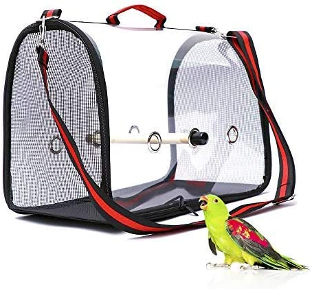 Amazon Com Benzhi Bird Parrot Carrier Travel Carriers Lightweight Pets Birds Travel Cage With Perch Pet Supplies