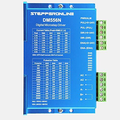 - STEPPERONLINE Digital Stepper Driver Low Speed Low Noise Control Signal Voltage 5V-24V Current 1.4-5.6A 15-36VAC/20-50VDC for Nema 17, 23, 24 Stepper Motor