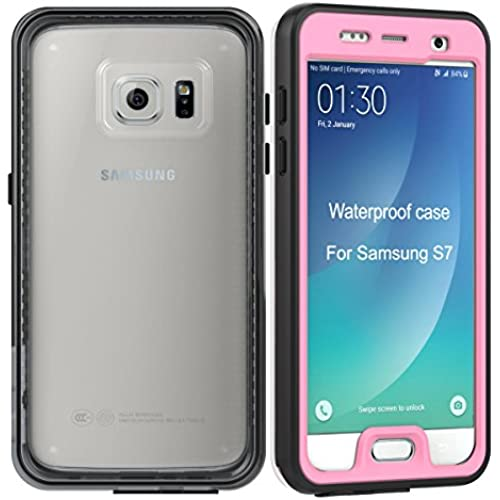 Waterproof Case for Samsung S7, Jusney  Galaxy S7 Full Screen Protector Impact Resistant and Scratch Case Cover for S7 (Pink) Sales