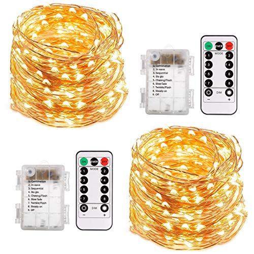 ECOWHO String Lights, 66ft 200 LED Battery Powered Fairy Lights, 8 Lighting Modes, Decorative Warm White Lights for Bedroom, Patio, Garden, Wedding (2 Pack)]()