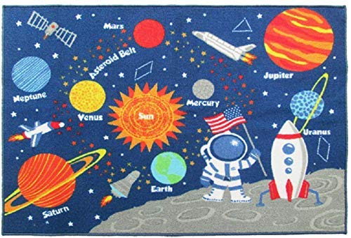 (HUAHOO Kids Rug Educational Learning Carpet Galaxy Planets Stars Blue Children's Fun Area Rug Nursery Rugs Solar System Rectangle Rug (Stars, 39