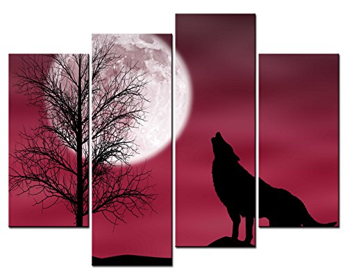 Wolf Moon Pictures (SmartWallArt® - Animal Paintings Wall Art Howling Wolf in a Dark and Cloudy Night with Moon 4 Panel Picture Print on Canvas for Modern Home Decoration)