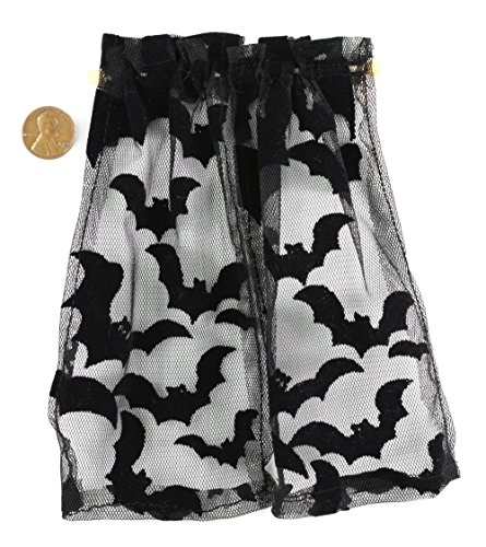 Dollhouse Miniature 1:12 Scale Creepy Halloween Bat Curtains (1 Halloween)