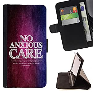 BullDog Case - FOR/Samsung Galaxy Core Prime / - / PHILIPPIANS 4:6 NO ANXIOUS CARE /- Monedero de cuero de la PU Llevar cubierta de la caja con el ID Credit Card Slots Flip funda de cuer