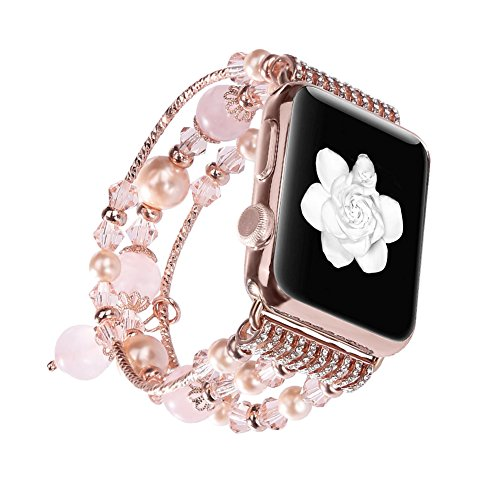 Apple Watch Band 38mm, iWatch Band Replacement for Apple Watch Series 3/2/1 Sport and Edition Fashion Faux Pearl Bracelet Beaded Elastic Stretch Bracelet Strap Pink for Women Girl (Watch Beaded Pink)