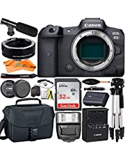 Canon EOS R5 Mirrorless Digital Camera (Body Only) 45MP Full Frame + SanDisk 32GB Card + Mount Adapter + Microphone + Case + Tripod + ZeeTech Accessory Bundle (18pc Bundle)