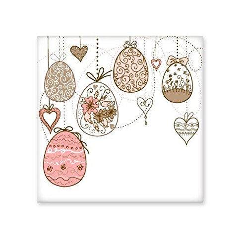 Easter Religion Christianity Festival Cute Pink Hanging Colored Egg Heart Flower Culture Illustration Pattern Ceramic Bisque Tiles for Decorating Bathroom Decor Kitchen Ceramic Tiles Wall Tiles well-wreapped