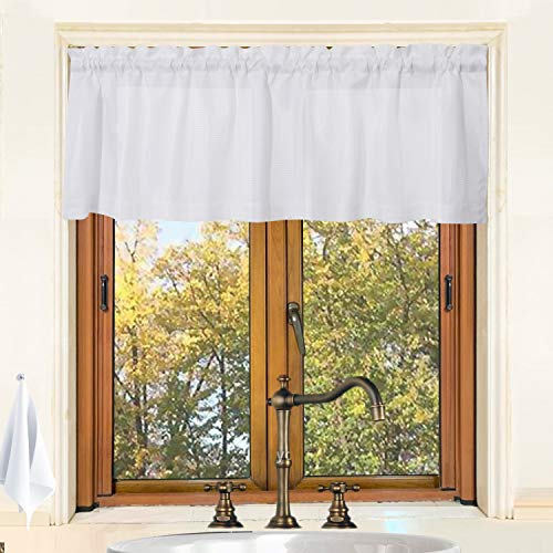Valea Home Waffle Woven Textured Kitchen Valance Curtains Striped Water Repellent Bathroom Window Covering (60 x 16 inches, White, One Panel) (Kitchen Window Covering)