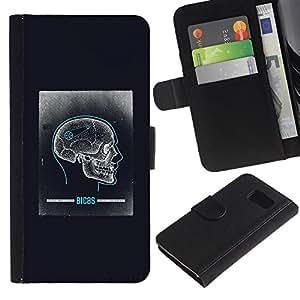 Billetera de Cuero Caso Titular de la tarjeta Carcasa Funda para Samsung Galaxy S6 SM-G920 / Skull Brain Anatomy Biology Human / STRONG