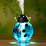 HF morning Beetle Mini Humidifier USB Portable Cool Mist Humidifier Car Whisper-quiet Air Purifier Night Light 6 hours Automatically Shut Off Ultrasonic Humidifier (82×82×117mm, Blue)