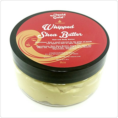 Liquid Gold Whipped Shea Butter. Made From Raw Shea Butter, Olive Oil, Avocado Oil, Coconut Oil for Treatment of Dry Skin. Excellent for Both Body and Hair. (Liquid Gold Sulfur Based Hair Growth Oil)