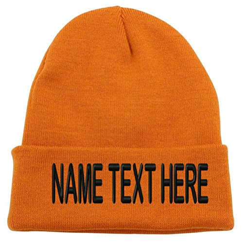 232b8731513 Caprobot ID Custom Embroidery Personalized Name Text Ski Toboggan Knit Cap  Cuffed Beanie Hat - Orange