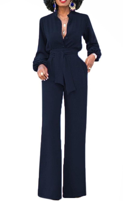 Voghtic Women's Elegant Long Sleeve Button Front Wide Leg Pants Jumpsuit Romper With Belt