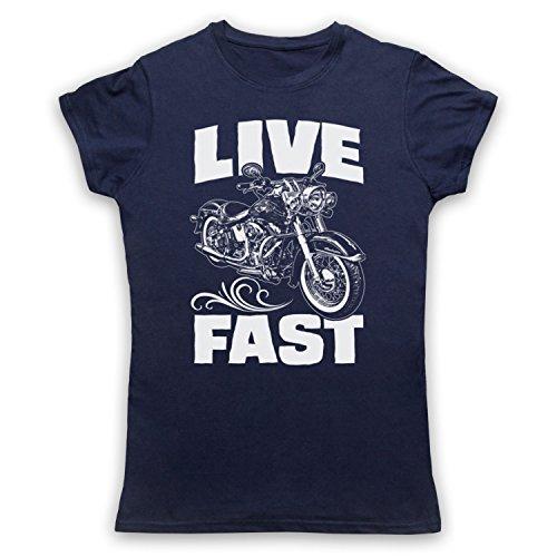 Live Fast Motorbike Camiseta para Mujer Azul Marino