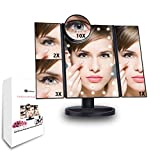 Sanshuai Tri-Fold LED Lighted Makeup Vanity Mirror, 1x/2x/3x/10x magnification Cosmetic Mirror (Black)