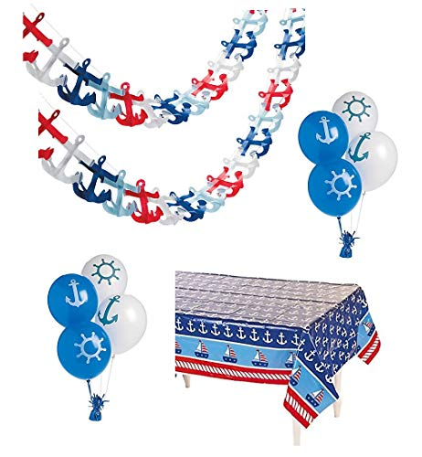 Nautical Party Supplies - Baby Boy Shower Birthday Nautical Anchor Table Cover, Nautical Garland & Balloons