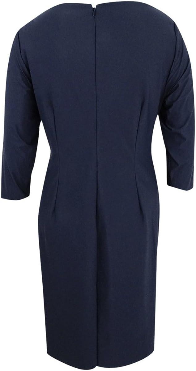 22W, Charcoal Alex Evenings Womens Plus Size Embellished Draped Sheath Dress