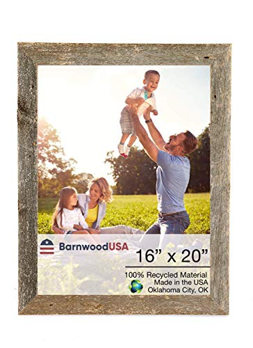 BarnwoodUSA Rustic 16x20 Inch Picture Frame 1 1/2 Inch Wide | 100 Percent Reclaimed Wood, Weathered Gray -
