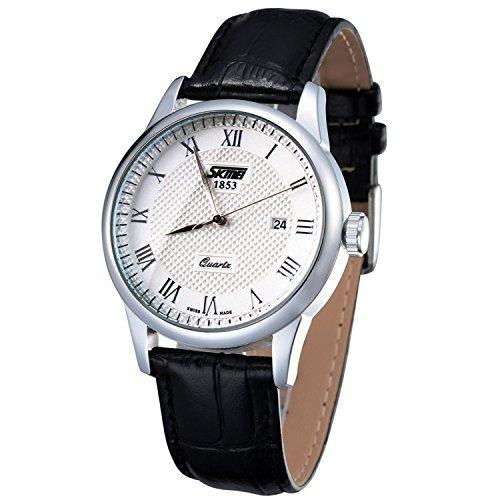 Hombres impermeable cuarzo fecha pantalla negro correa de piel relojes Skmei 9058 esfera blanca: Amazon.es: Relojes