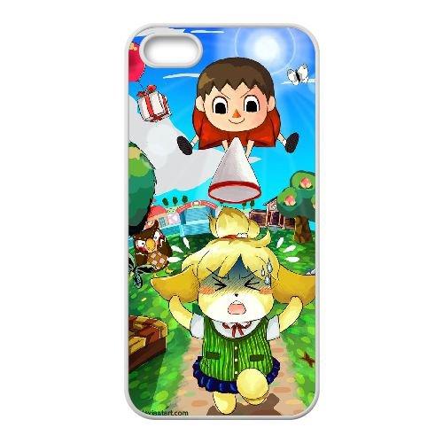 F7Q79 Animal Crossing New Leaf E1Y5SK coque iPhone 5 5s cellule de cas de téléphone couvercle coque blanche KO0ZMF1RG
