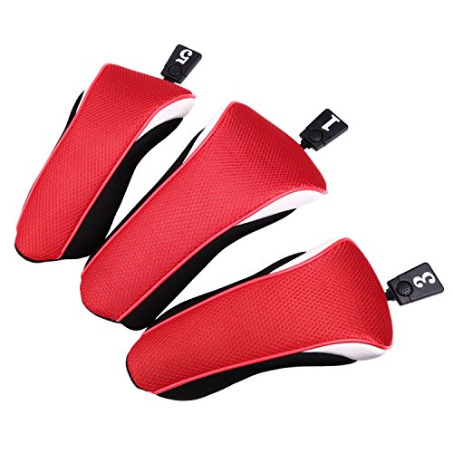 Sword &Shield sports 3pcs/set New Driver # 1 3 5 Fairway Wood Cover Golf Club Headcover£¨Red£ - Fairway Woods No Headcover