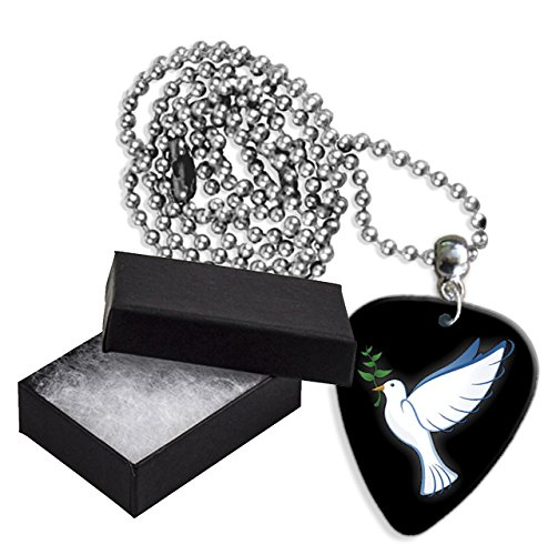 Dove Olive Branch Christian Boxed Metal Guitar Pick Necklace (GD)