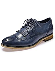 Mona Flying Womens Leather Perforated Lace-up Oxfords Shoes for Women Wingtip Multicolor Brougue Shoes