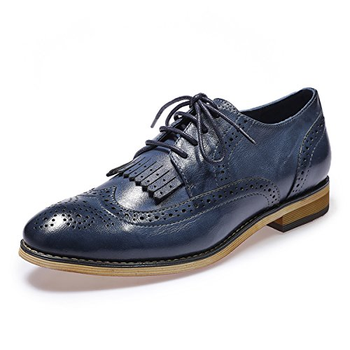Mona flying Womens Leather Perforated Lace-up Saddle Oxfords Brogue Wingtip Derby Shoes (Shoes Up Lace Leather Perforated)