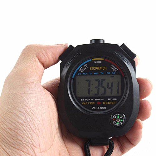 Digital Stopwatch, FTXJ Waterproof Digital LCD Chronograph Timer Counter Sports Alarm