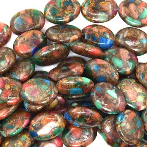 Ruby Zoisite Flat Oval Beads - buyallstore 20mm Ruby Zoisite Pressed Jade Flat Oval 15.5