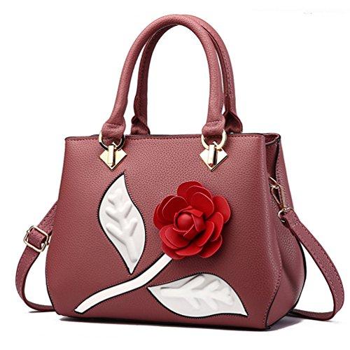 Élégantes À Femmes Main Auspicious Sacs Beginning Rose Rouge Avec 3d Épaules Fleur Caoutchouc Pour nWAn1a
