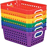 Really Good Stuff Plastic Storage Baskets for Classroom or Home Use - Fun Rainbow Colors - 11'' x 7.5'' (Set of 6)