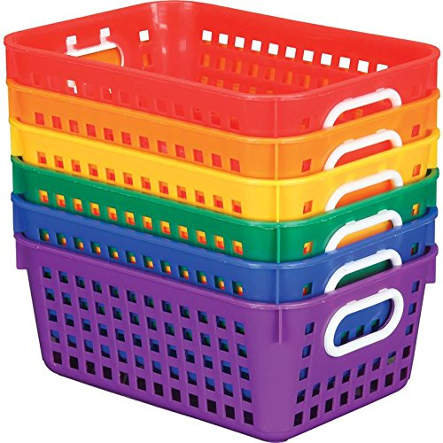 Really Good Stuff Plastic Storage Baskets for Classroom or Home Use - Fun Rainbow Colors - 11 x 7.5 (Set of 6)