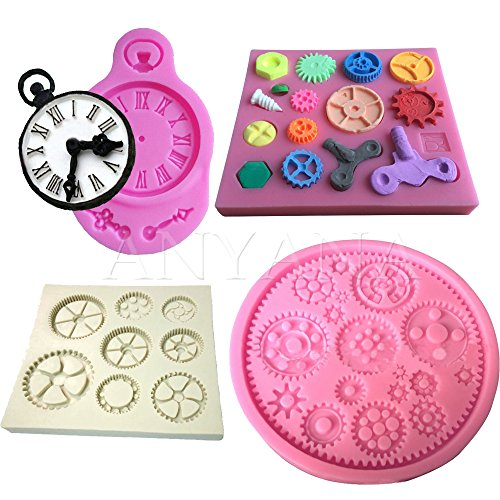 Anyana 4pcs Steam Punk Silicone Cake Mold clock surface F...
